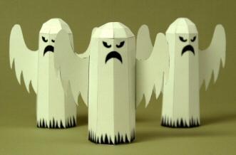 Papercraft imprimible y armable de un Fantasma decorativo para Halloween. Manualidades a Raudales.