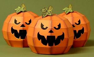 Papercraft imprimible y armable de calabaza Pumpkin decorativa. Manualidades a Raudales.