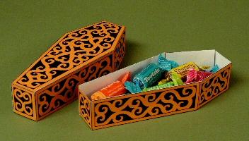 Papercraft imprimible y armable de ataúd para caramelos. Manualidades a Raudales.
