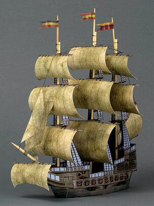 Papercraft imprimible y armable de un Barco Fantasma / The Ghost Ship. Manualidades a Raudales.