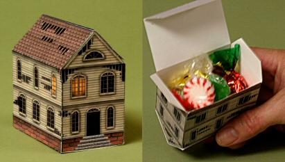 Papercraft imprimible y armable de una casa fantasma para guardar caramelos. Manualidades a Raudales.