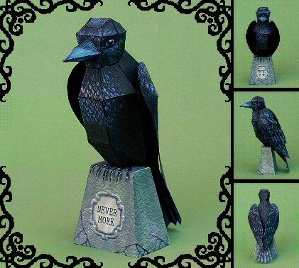 Papercraft imprimible y armable de un cuervo / raven. Manualidades a Raudales.