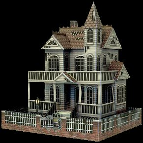 Papercraft imprimible y armable de una casa fantasma / the ghost house. Manualidades a Raudales.